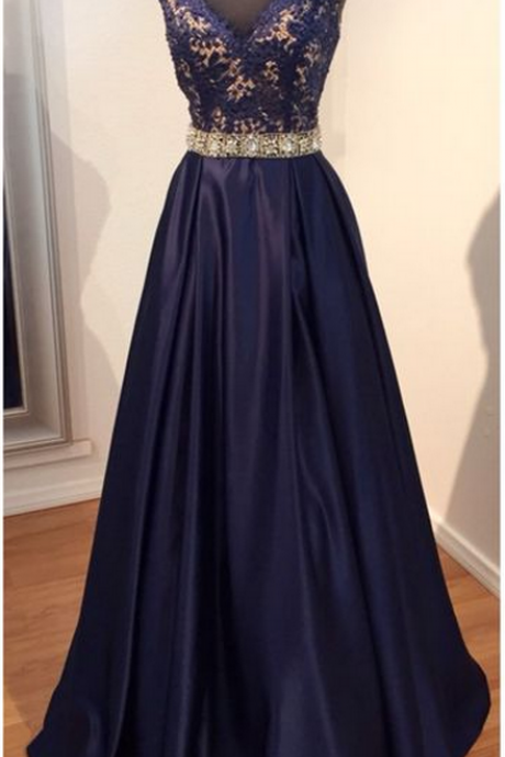 Glamorous Prom Dress,Navy Blue Prom Dress,Lace Prom Dress,Beaded Prom Dress,Cap Sleeve Prom Dress