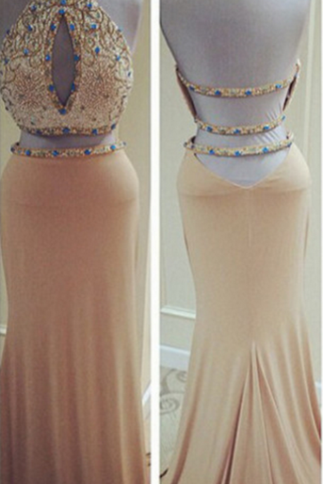 Two Piece Fitted Kiss Formal Mermaid Sexy Backless Prom Dresses Halter,Prom Dresses