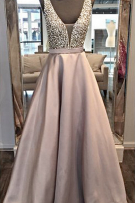 V Neck Prom Dresses, Double Straps Prom Dresses, Beading Top Prom Gown
