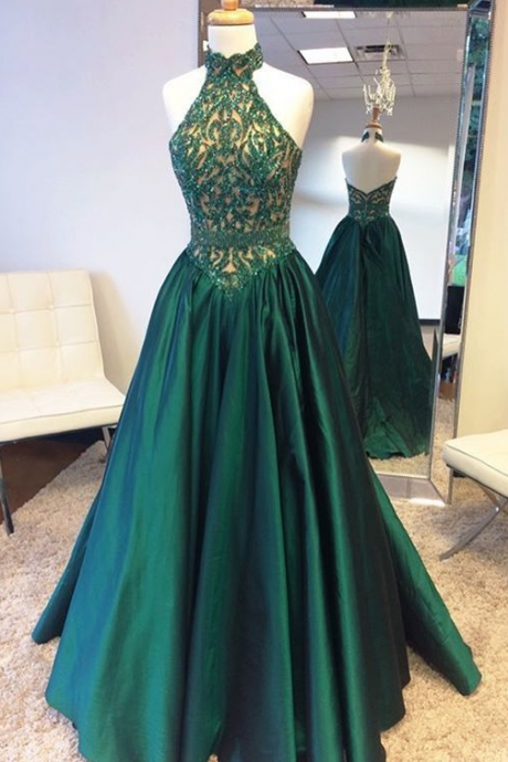 Gorgeous Prom Dresses, Halter Prom Dress, Sleeveless Prom Dress,Green Prom Dress,Women's Formal Evening Dress