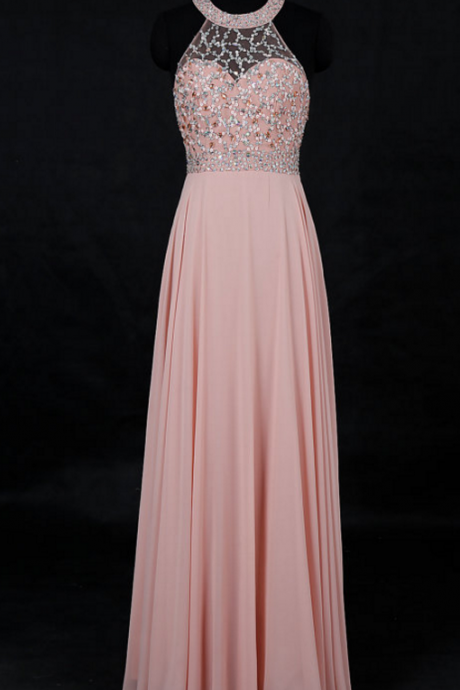 Round Neck Floor Length Chiffon Prom Dress with Beads