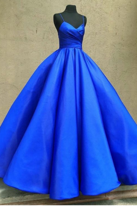 Spaghetti Straps Royal Blue Prom Dress Formal Occasion Dress