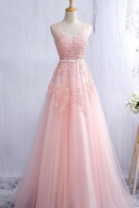 Blush Pink Evening Dress Prom Dress with Lace