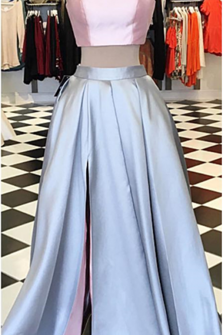 Pink Top Pale Blue Skirt Two Pieces Prom Dress