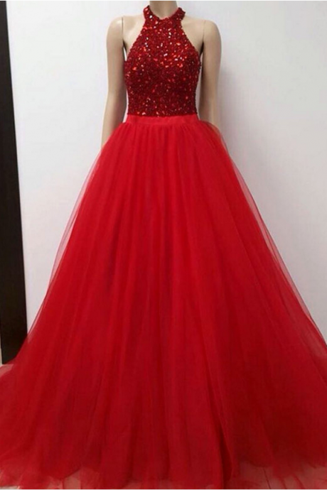 Halter Long Red Prom Dress with Beads