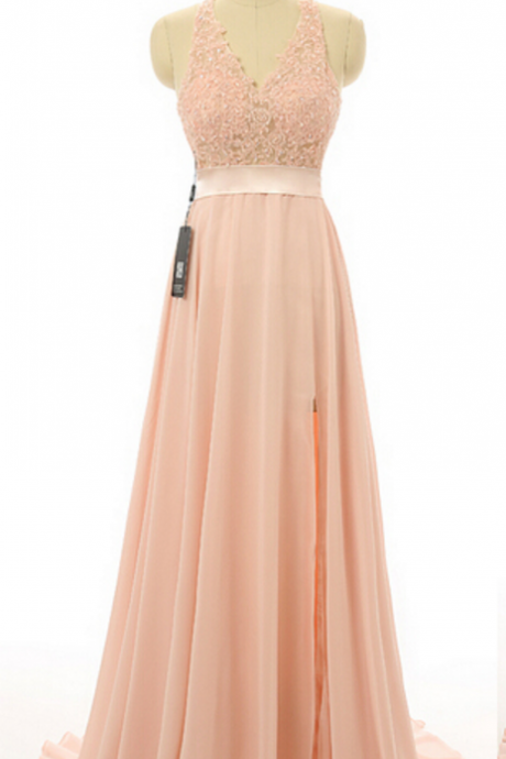 Blush Pink Halter V-Neckline Lace Prom Dress, Bridesmaid Dress with High Split