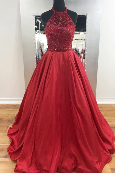 Halter Dark Red Long Prom Dress with Beads