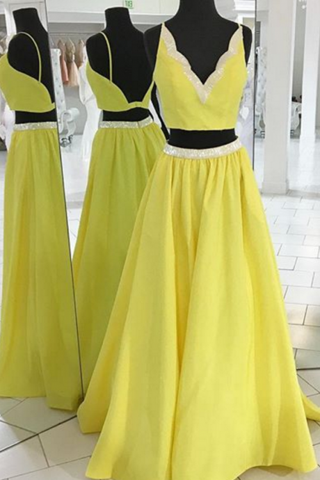 Sun Yellow 2 Pieces Prom Dress