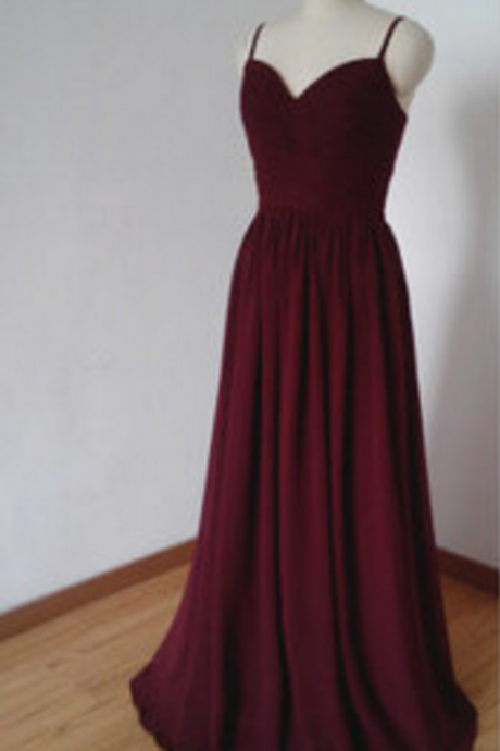Burgundy Formal Occasion Dress with Spaghetti Straps