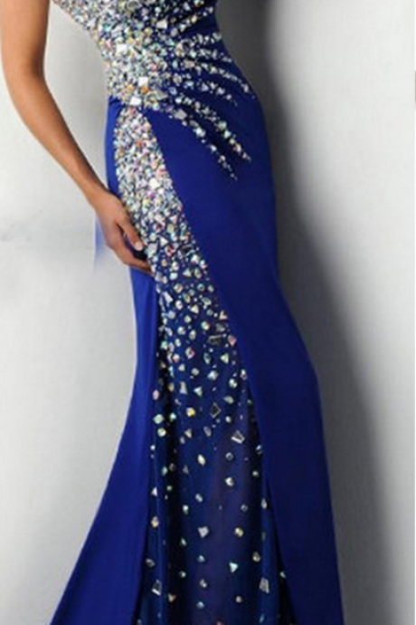Sweetheart Royal Blue Prom Dress with Crystals Beads