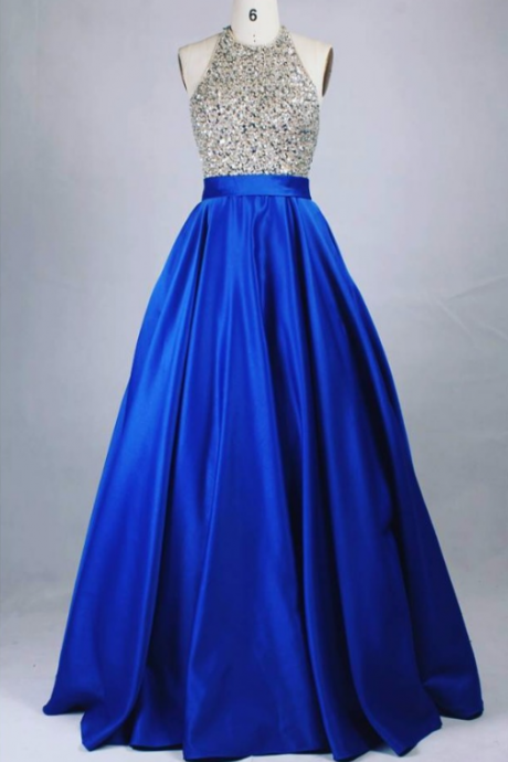 Halter Long Royal Blue Prom Dress with Open Back evening dresses