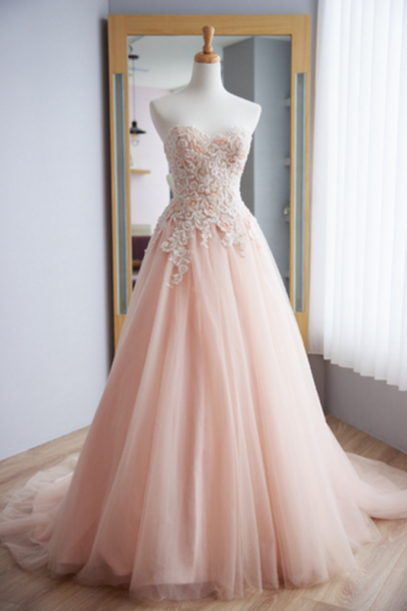 Strapless Champagne Wedding Dress evening dresses