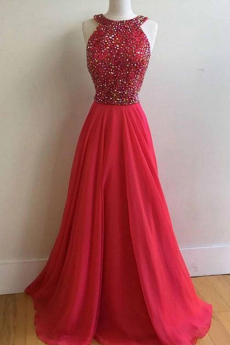 Red Chiffon Long Prom Dres with Beads evening dresses