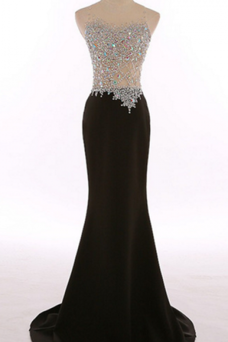 The real picture, the neck crystal sheath dress mermaid black gown, elegant dress, cheap bridal gown