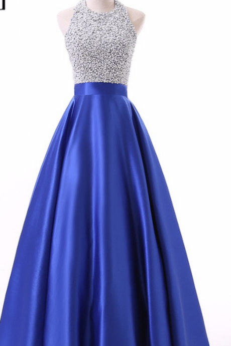 Royal blue sequined dress with satin gown, sleeveless, sleeveless evening gown