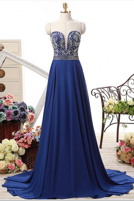 100% Real Photo Chiffon A Line Sweetheart Neck Long Evening Dress Backless Beaded Floor Length Evening Dresses