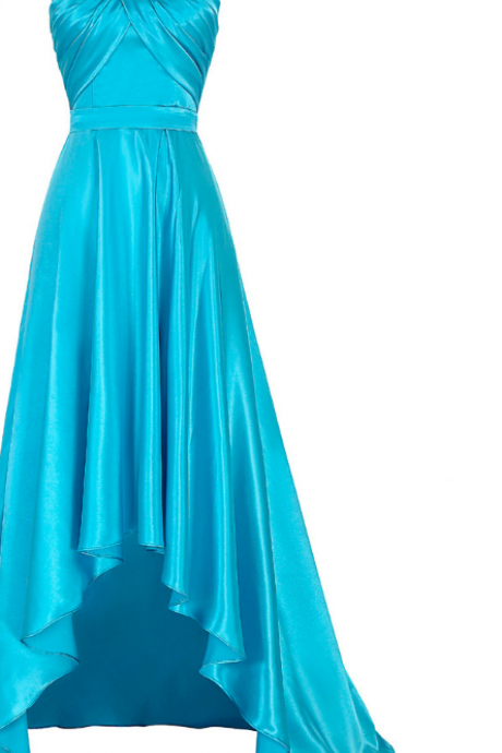 A blue short front - back ball gown with a high PROM gown and a sexy satin pleated dress
