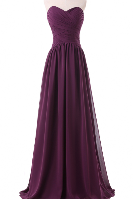 The purple dress chiffon gown with a sexy floor length and a formal ball gown