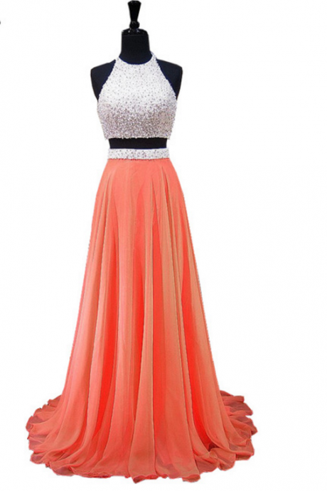 The PROM dress with a sleeveless pearl African orange without two ball gowns