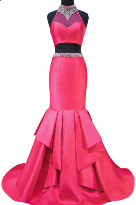 The PROM gown is a sexy African hot pink two-part ball gown