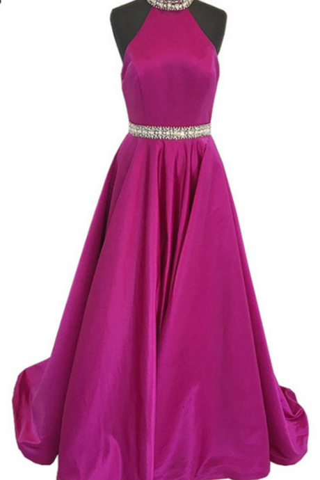 Real sample long night gown with a sleeveless crystal with no back purple women's formal dress