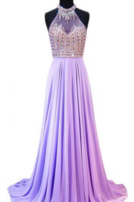 Long elegant evening gown a ball of crystal floor-length crystal floor-length pale purple snow spinning women's formal evening party