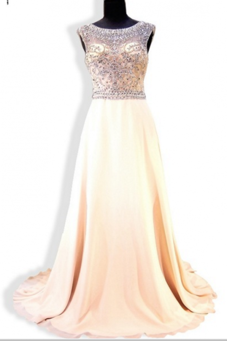 The newly arrived heavy bead crystal has no back chiffon and a formal evening dress