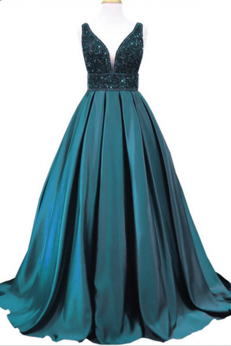 Long emerald evening gown, PROM dress v neck sleeveless women's formal evening gown