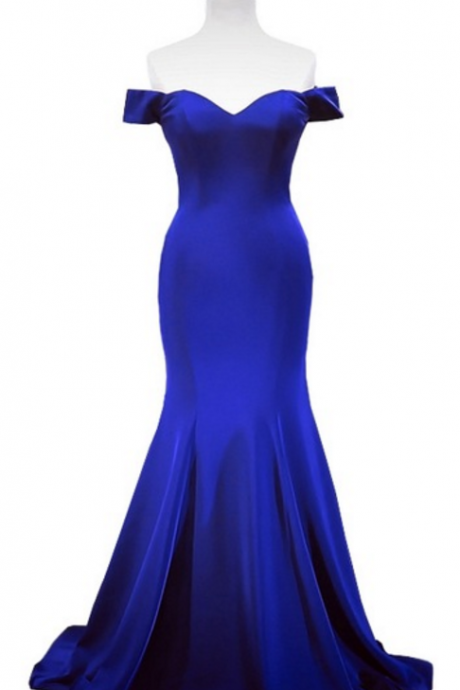 The gorgeous mermaid hat, the new woman's formal royal blue evening gown