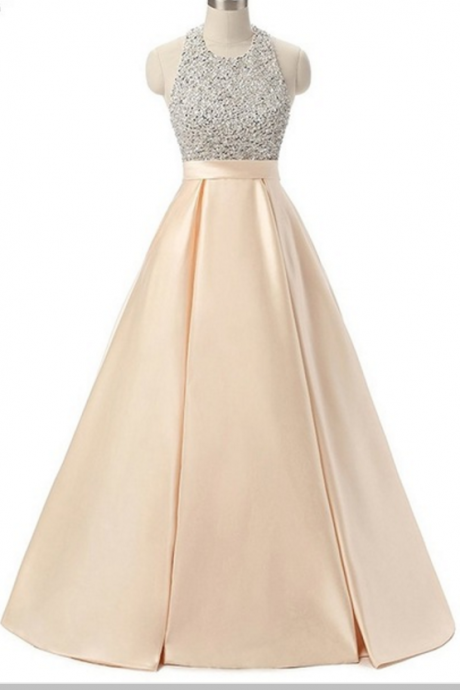 Gorgeous evening gown, sleeveless, sleeveless, sleeveless, sleeveless champagne gown