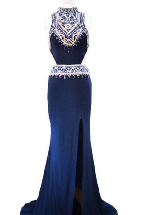 Long evening gown, sexy high-necked, sleeveless crystal floor-length navy mermaid evening gown