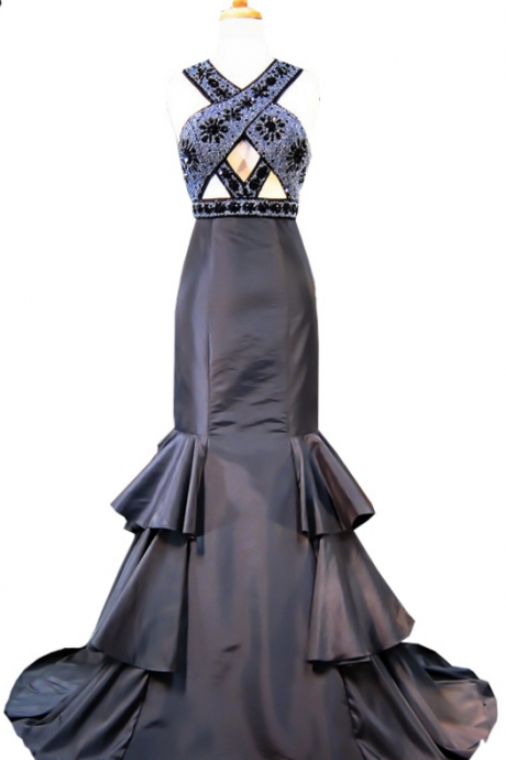 The dress neckline, black women's formal evening dress