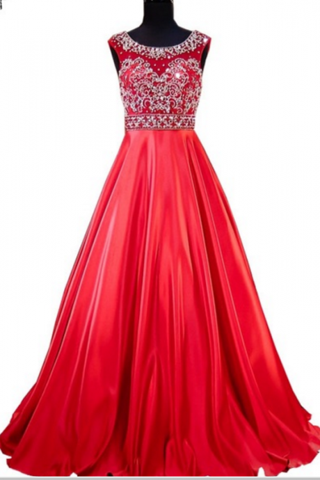 The long night dress, the real sample scoop, the heavy overhead beads, the red women's formal evening dress