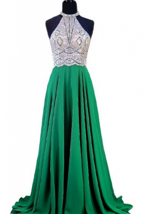 Emerald green evening gown, a sleeveless, sleeveless evening gown with a tuxedo