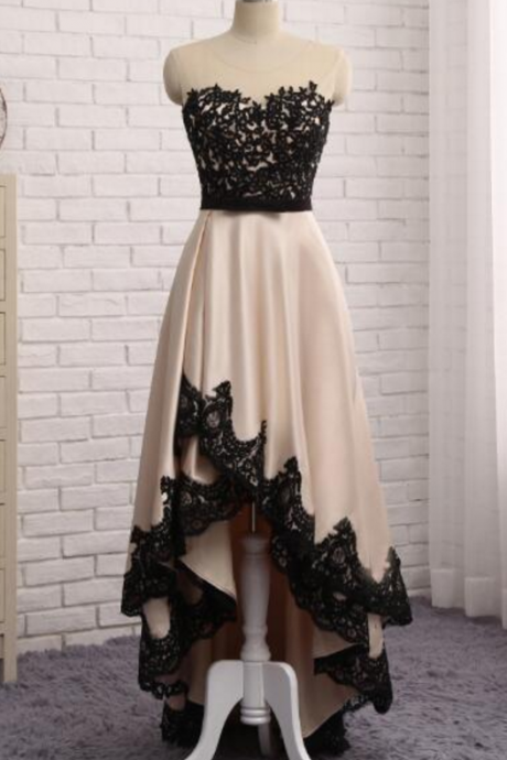 A champagne night gown with a black lace gown and a gown with a long gown evening dresses