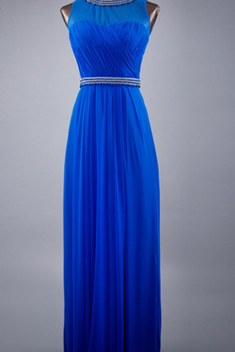 Baby blue double shoulder pleated party dress evening gown