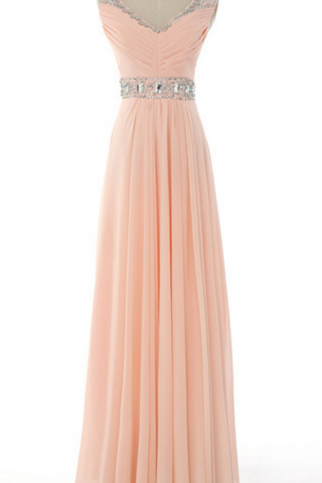 The bride's sexy v-neck chiffon skirt is long on the shoulders of the evening gown, in a summer style gown evening dresses