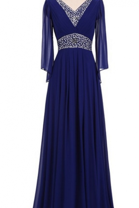 Beaded long-sleeved chiffon evening dress, royal blue turquoise dubai gown with oversized gowns evening dresses