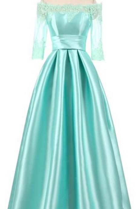 Floor length satin formal emerald mint green lime black sexy night gown evening gown