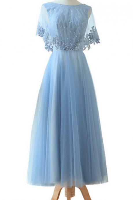 The new luscious blue evening gown, ankle, semi-sleeve lace beading, the perfect neck elegant PROM gown in the lobby evening gown