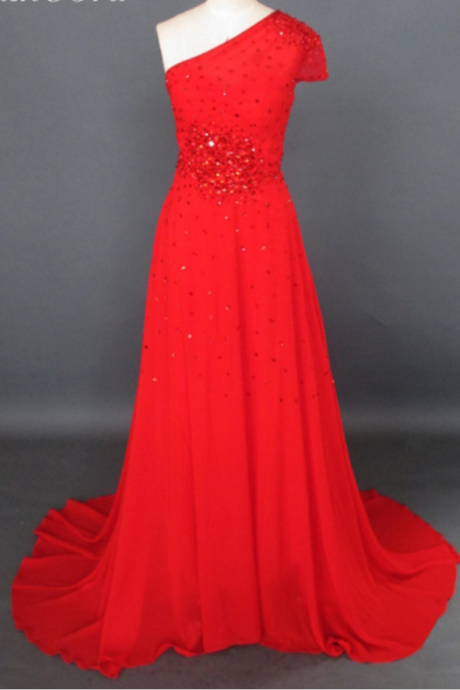 Red Chiffon Prom Dresses Simple Evening Dress