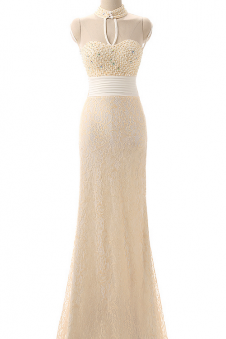 High collar pearl wedding party a longer perspective lace mermaid size champagne party dress