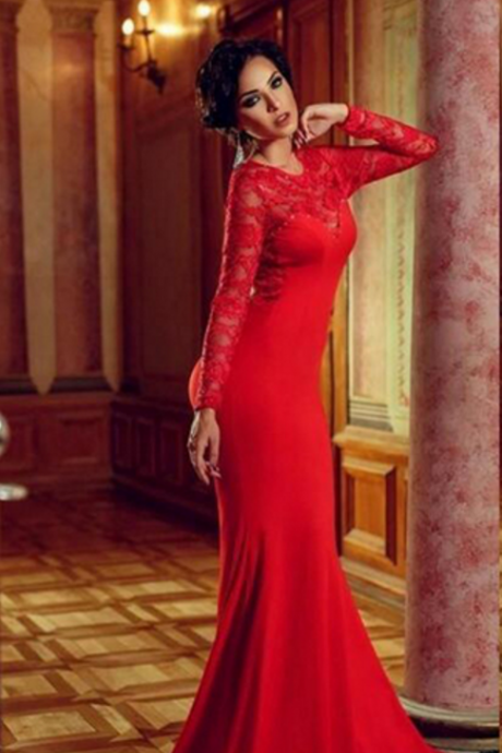 Evening Dresses, Red Evening Dresses, Sexy Evening Dresses, Long Sleeve Evening Dresses, Mermaid Evening Dresses, Formal Dress, New Arrival Evening Dresses, Open Back Evening Dresses, Lace Evening Dresses