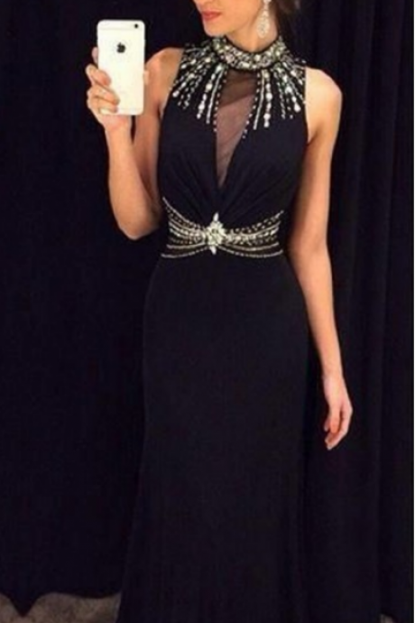 Prom Dresses,Evening Dress,Party Dresses,Black Prom Dresses,Elegant Evening Dresses,