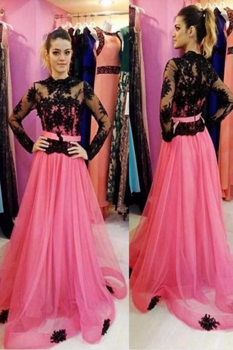 Illusion Long Sleeves A-line Tulle Prom Dresses evening dresses