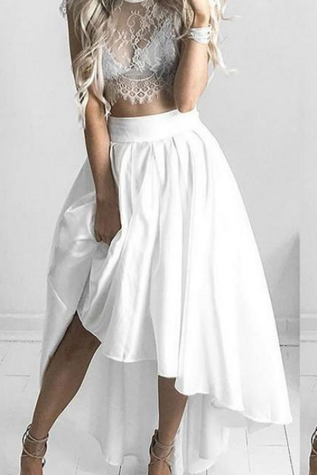 White Two Piece Lace Homecoming Dresses Cap Sleeve Cutaway Sides Party Dresses Chiffon Jewel Neck Prom Dresses For Gowns