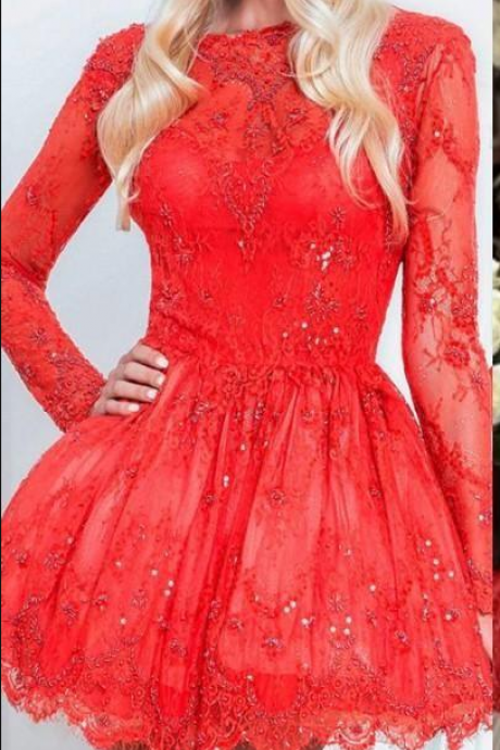 Bright Red Short Homecoming Dresses Beaded Long Sleeves Pleats Open Back Lace Applique Short Prom Dresses 8th Grade Graduation Dresses