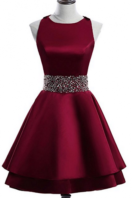 Burgundy Satin Crew Neck Sleeveless Short Homecoming Dress Featuring Beaded Embellishments