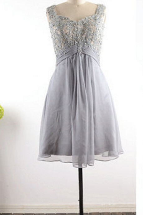 Grey simple ball gown a line chiffon short gown Homecoming Dress,