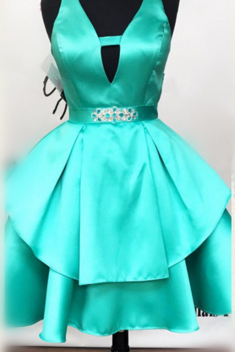 MINT green homecoming dress, short v neck prom dress,ruffles dress,short mini ball gown